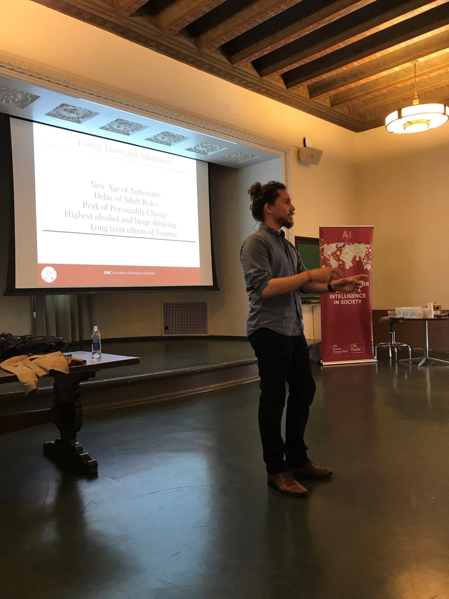brand new a93d1 1c4ed Dr. Jordan Davis speaking at the USC CAIS seminar on April 25, 2018.